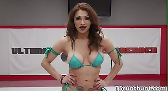 Dicksucked latina TS cums in mouth of beauty