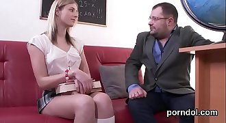 Natural schoolgirl gets seduced and banged by her senior schoolteacher
