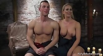 Busty female domination Cherie Deville pegging dude