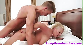 Busty fledgling granny banged hard by young man