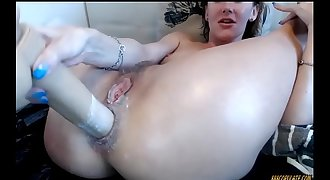 Hot sexy girl opens up her nut with big assfuck toy faux-cock